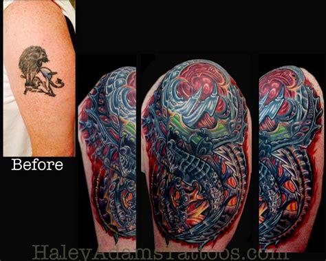 biomechanical lion tattoo biomechanical tattoo cover up by haley adams tattoonow