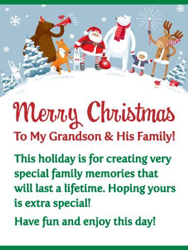 send  adorable  meaningful christmas card   grandson   family  year