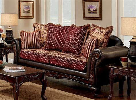 burgundy living room furniture ellis brown and burgundy living room set sm7507 sf