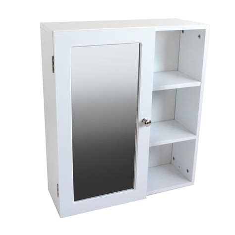 Single Mirrored Door Bathroom Wall Cabinet With 3 Shelves Mirrored Bathroom Cabinet With Shelves