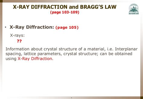 to determine lattice parameter using x ray diffraction pattern mme 323 materials science week 4 structure of