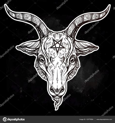 pentagram with demon baphomet satanic goat head stock