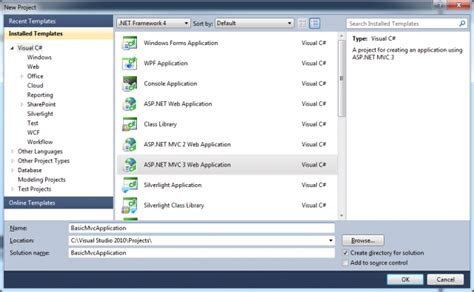 tutorial visual studio 2010 asp net how to create a basic mvc 3 application with visual studio