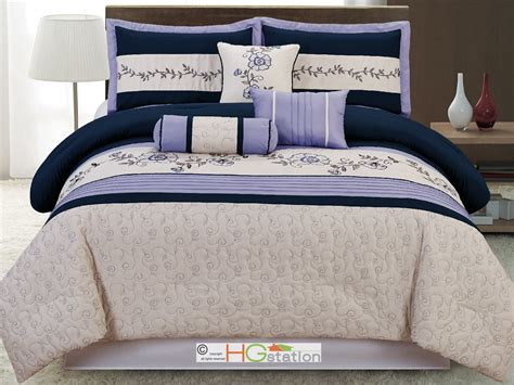 Navy Blue Comforter King by 11 P Quilted Scroll Embroidery Floral Comforter Curtain