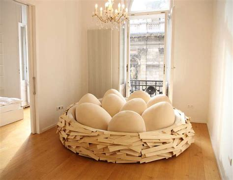 egg bed caw caw giant bird s nest bed with egg pillows geekologie