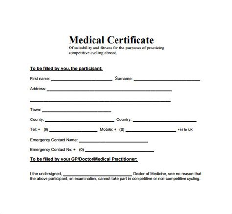 sick certificate template certificate 15 free documents in pdf word