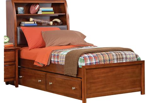 rooms to go trundle bed santa cruz cherry 4 pc twin bookcase bed w trundle