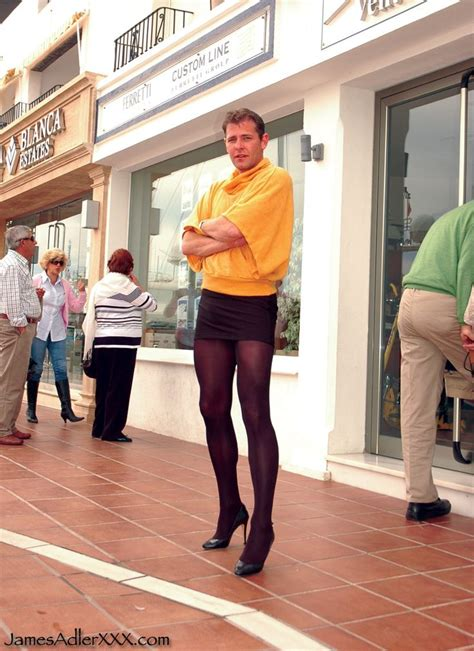 high heels heavy makeup public tumblr pencil skirt and black pantyhose this guy is rocking it