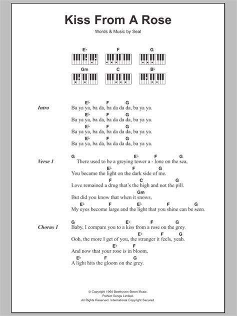 piano tutorial kiss from a rose kiss from a rose sheet music direct