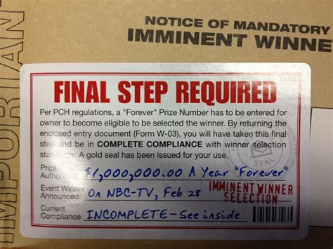 Pch Entry By Mail - have you received a pch package that says final step required pch blog