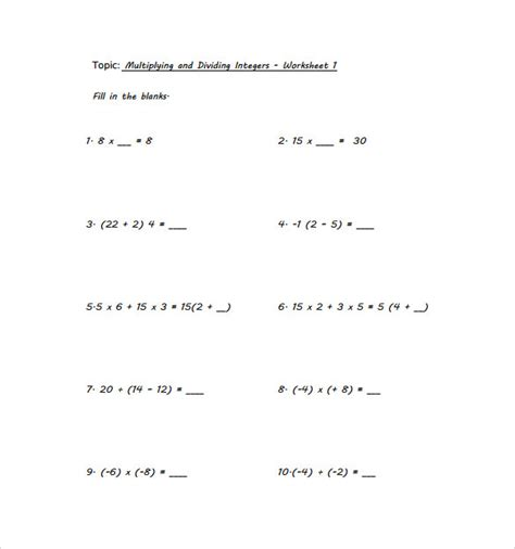 Multiplying And Dividing Integers Worksheet by Sle Multiplying Integers Horizontal Worksheet 9 Free