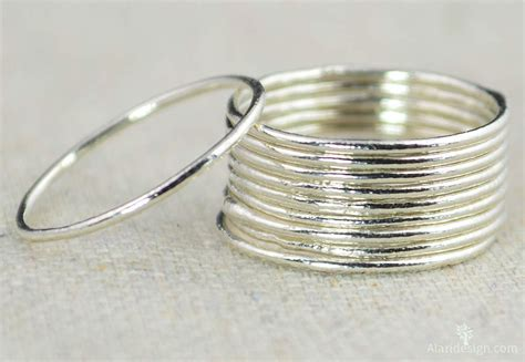 thin silver stackable rings stacking rings