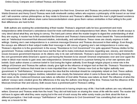 Compare And Contrast Essay Exles High School by Compare And Contrast Emerson And Thoreau At Essaypedia