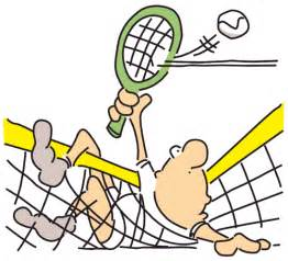 Tennis player cartoon funny net tangle 1lg