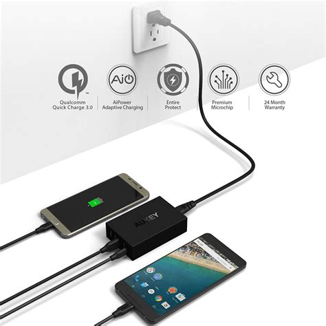 Aukey 5 Port Charge Oc 3 0 Pa T15 Pat15 Black Hitam aukey pa y5 54w 5 port usb type c charger charge 3 0