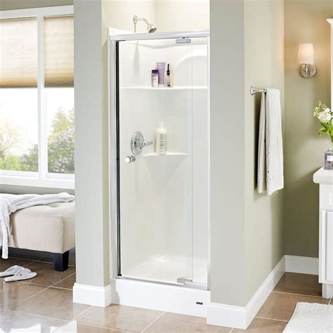 pivot frameless shower door delta phoebe 31 in x 66 in semi frameless pivot shower