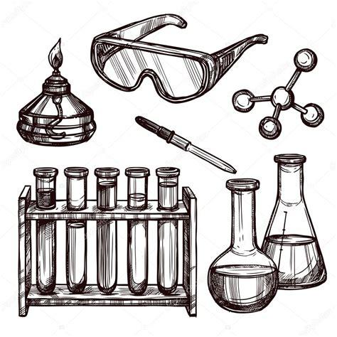 imagenes quimica blanco y negro herramientas de qu 237 mica conjunto dibujado a mano vector