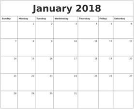 Calendar 2018 Monthly January 2018 Monthly Calendar