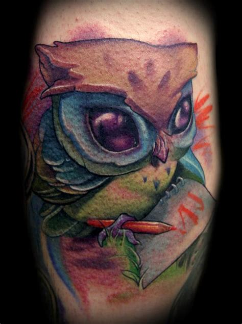 owl tattoo in color off the map tattoo tattoos animal colored pencil owl