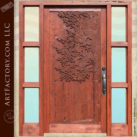 Hand Carved Douglas Fir Exterior Door With Sidelights Douglas Fir Exterior Doors