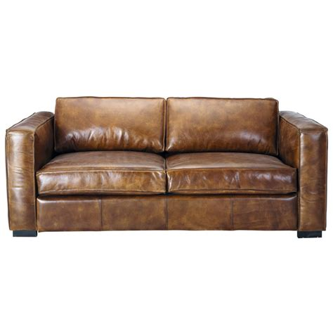 3 Seater Leather Sofas 3 Seater Distressed Leather Sofa Bed In Brown Berlin Maisons Du Monde