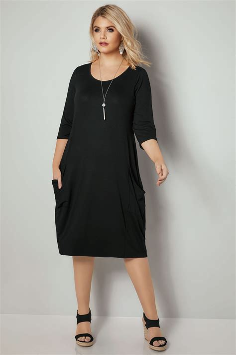 black drape pocket jersey dress with 3 4 sleeves plus