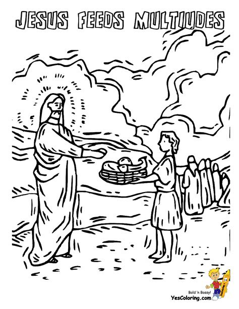 Bible Coloring Page Feeding 5000 by Bible Printables Of Jesus Feeds Multitude At Yescoloring