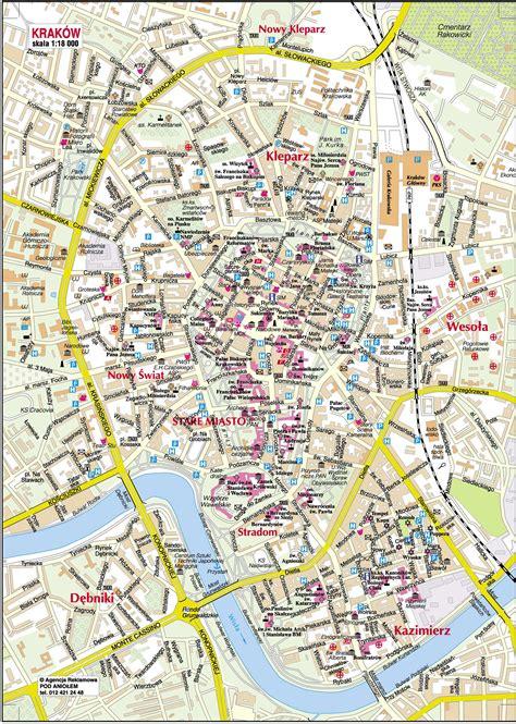 printable map of zakopane kaarten van krakau gedetailleerde gedrukte plattegronden