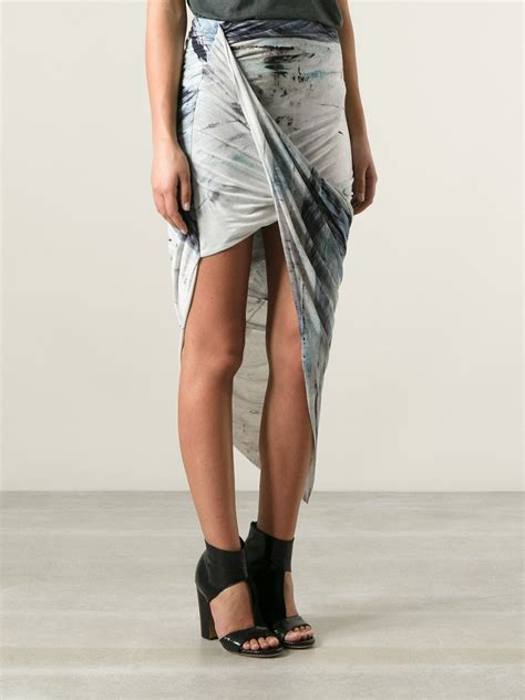 helmut lang draped skirt helmut lang asymmetric draped skirt in gray lyst