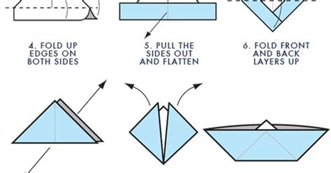 Paper Boat Steps - step by step for origami boat projects