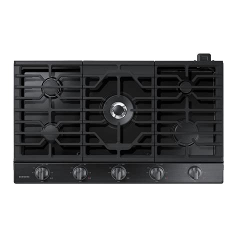 black gas cooktops samsung 36 in gas cooktop in black stainless steel with 5