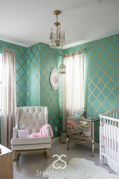 gold wallpaper nursery gold wallpaper turquoise and stencils on pinterest