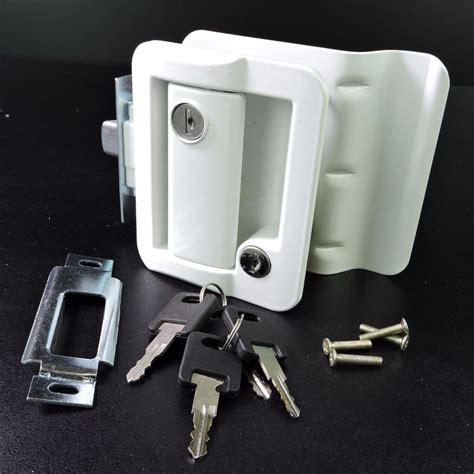 Trailer Door Knobs by White Rv Paddle Entry Door Lock Latch Handle Knob Deadbolt