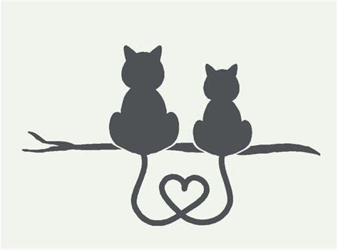 Two Cats Outline by Kittens Silhouette Cameo Plaatjes Katzen Niedlichen Katzen Und Liebe