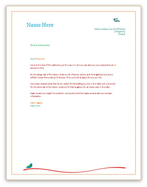 stationery templates word letterhead templates