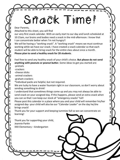 Parent Letter Requesting Snacks Pin By Asusena Valencia On Kinder
