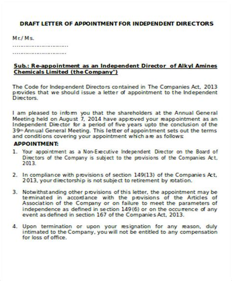 appointment letter to independent director 24 sle appointment letters in doc