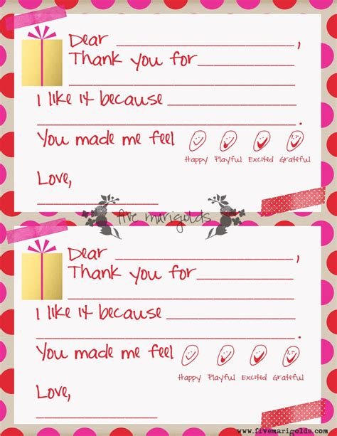 Christmas Thank You Note Templates For Kids Five Marigolds Thank You Note Template Free
