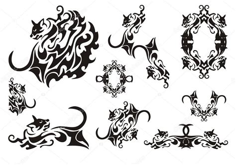 tribal cat stock image image tribal cat symbols stock vector 169 lion21 81051646