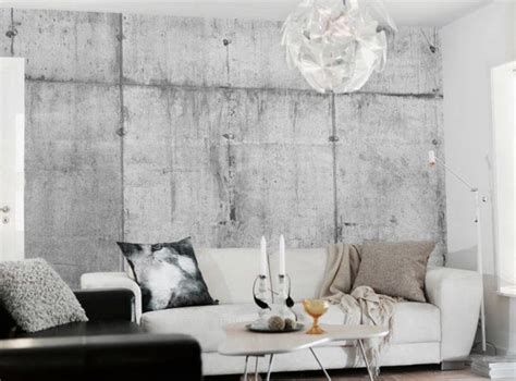 cool interior decoration with concrete wallpaper ideas