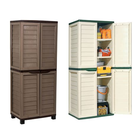 outdoor storage cabinets with shelves starplast outdoor plastic garden utility cabinet with 4