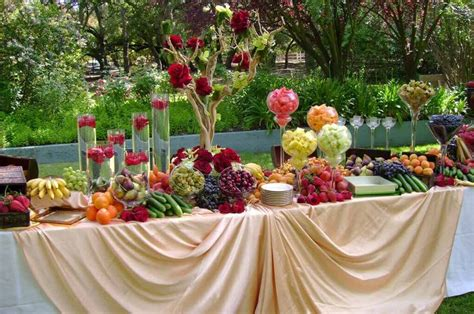 wedding reception food display picture fruit and cheese