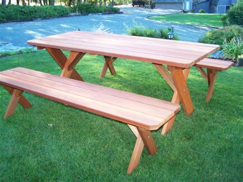 redwood picnic table classic redwood picnic table set wide plank style gold