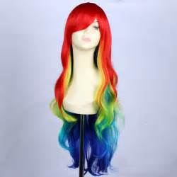 colored wigs 32inch cheap synthetic multi color ombre rainbow wig