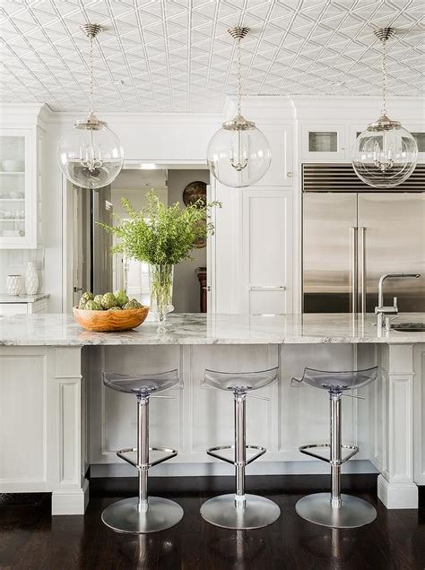 White Kitchen with Regina Andrew Large Globe Pendants and