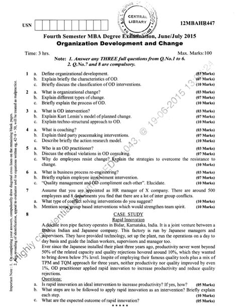 2015 16 Mba 4 Semester Solved Paper by 4th Semester Mba June 2015 Question Papers