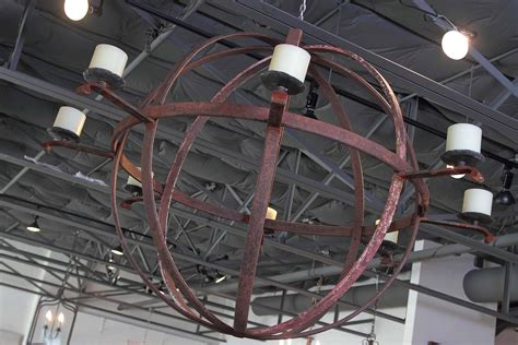 large industrial chandelier large industrial orb eight candle chandelier for sale at 1stdibs