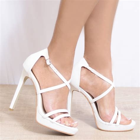 koi couture white strappy sandals barely there high heels
