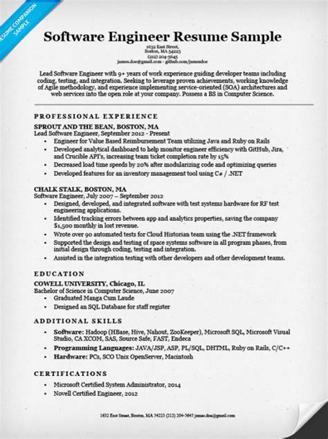 resume format for year experienced software engineer software engineer resume sle writing tips resume companion