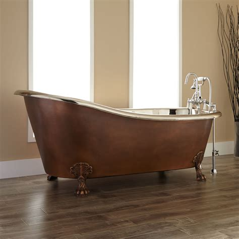 copper clawfoot bathtubs 72 quot isabella copper double slipper clawfoot tub nickel